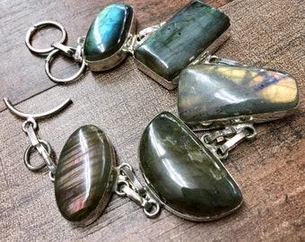 """Blue Fire Labradorite + Sterling Silver 925 Statement bracelet One-of-a-kind 7.25""""-8"""" Huge"""