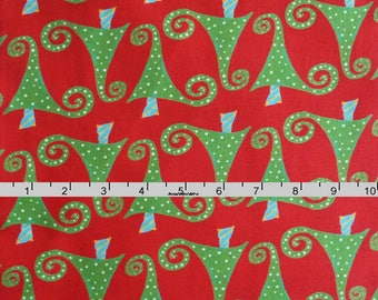 Christmas Tree Fabric, Red and Green Christmas Quilt Fabric, In The Beginning Fabric It's Christmas 5JHF 1 Jennifer Heynen, Cotton