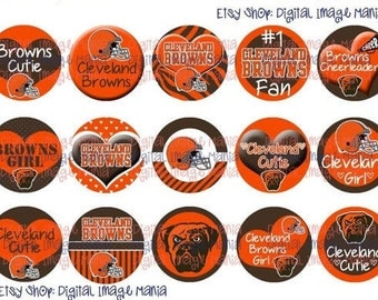 INSTANT Download Cleveland BROWNS Inspired 4x6 Digital Printable 1 Inch Circle Bottle Cap Images