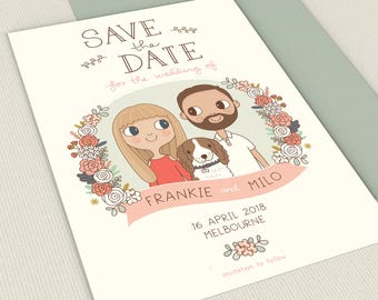 Save the Date Invitation  |  Custom Couple Portrait Illustration 5x7 or A5