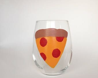 Pizza stemless wine glass//Pizza lovers