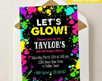 Neon Leuchten Einladung / / Neon Glow Geburtstags Einladung / / Glow  Geburtstag / /