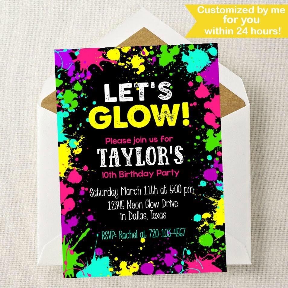 Neon Glow Invitation // Neon Glow Birthday Invitation // Glow