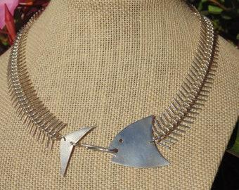 Linda Hesh ~ Vintage Sterling Silver Articulated Fish Choker Necklace ~ 46 Grams