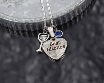 Best Friend necklace with charms, best bitches charm, girlfriend gift, best friend jewelry