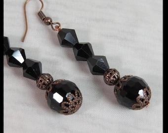 VICTORIAN STEAMPUNK Earrings COPPER Filigree BLaCK Fauceted Crystal Dangle Fishhook Steampunk Victorian Earrings by SweetDarknessDesigns