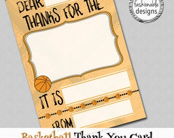 """Basketball Thank You Card, Kids Card, Instant Download, 4x6"""" JPG,"""