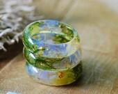 Iridescent Opal Ring, Flower Ring, Bohemian Resin Ring, Engagement Promise Ring, Gemstone Ring for Women, Birthstone Ring, Best Friend Gift