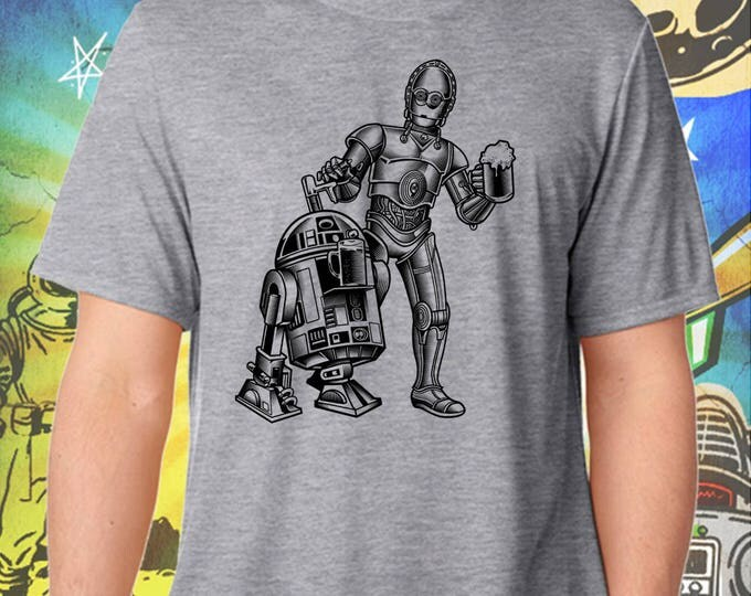 Star Wars / R2D2 and C3PO BW / Men's Gray Performance T-Shirt