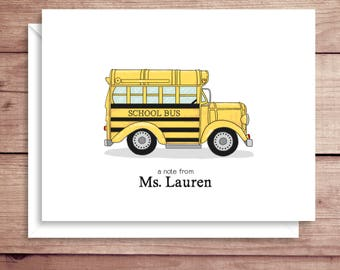 School Bus Note Cards - Teacher Note Cards - Folded Note Cards - Thank You Cards- Bus Driver Note Cards - Personalized Note Cards