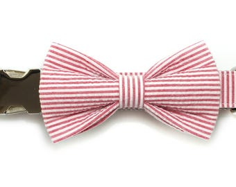 Red Seersucker Dog Collar Bow Tie set, preppy, metal or plastic hardware, pet bow tie, collar bow tie, wedding bow tie