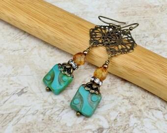 Turquoise Earrings, Topaz Earrings, Gold Earrings, Czech Glass Beads, Picasso Earrings, Long Gold Earrings, Green Earrings, Gifts for Her