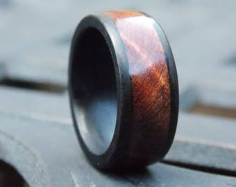Men's Ebony and Redwood Burl combined wood fusion ring size 10