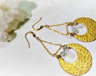 Raw Brass Earrings, Opalite Earrings, Crescent Earrings, Brass Statement Earrings, Celestial Earrings, Opal Earrings, Crystal Earrings