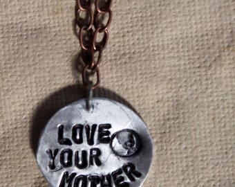 Love Your Mother Metal Stamped Necklace