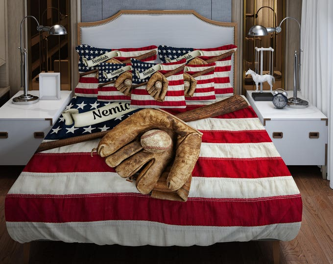 Baseball Bedding Custom Personalized Duvet Cover Or Comforter Vintage American Flag Twin Full
