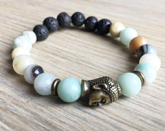 Amazonite Lava Bracelet, Buddha Bracelet, Essential Oil, Aromatherapy, Yoga Bracelet, Meditation, Chakra Healing, Stretch Cord
