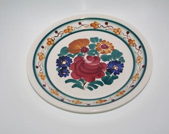 Vintage decorative folk plate Big hand painted traditional wall dish floral Wall plate Flowers Polish pottery Wall hanging Polish ceramics
