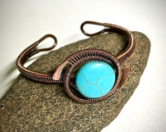 Copper Wire Wrapped Bracelet with Turquoise Stone