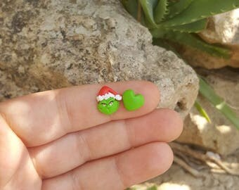 The Grinch stole christmas Needle minder stud or magnetic earrings. Hypoallergenic.