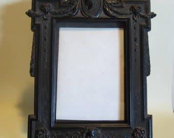 Antique Victorian vulcanite picture frame, ebonite; French, 1800's