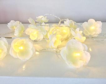 20 led white blossom fairy lights - led lights 20 led fairy lights - Flower string lights