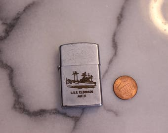 Vintage USS Eldorado ACG 11 Lighter Used Engraved The Ship Decommissioned in November 1972