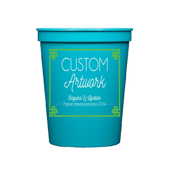 Personalized plastic cups, custom cups, personalized party cups, personalized stadium cups, custom artwork, reception cups, birthday cups