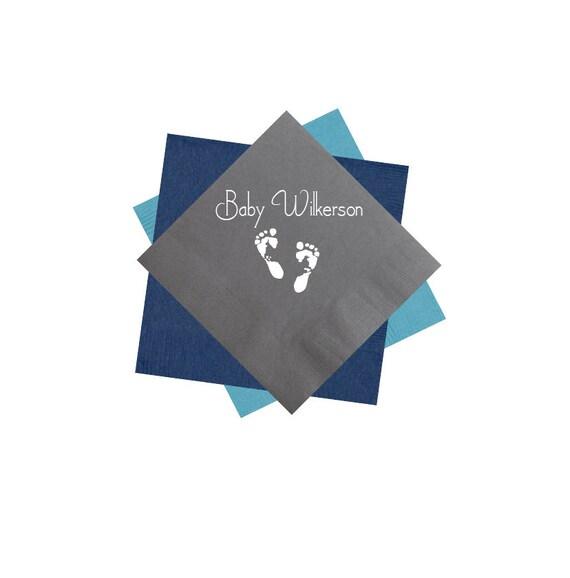 baby shower napkins, baby boy napkins, baby girl napkins, footprint art, personalized napkins, custom napkins, personalized cocktail napkins