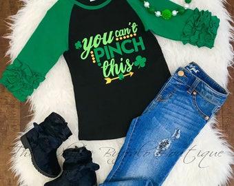 Girls You can' pinch this ruffle sleeve shirt/FREE SHIPPING/raglan/St. Patrick's Day/toddler-girls ruffled raglan/Todler girls/ruffled