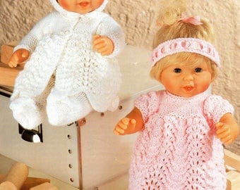 """12"""" Baby Dolls Clothes Knitting Pattern Tiny Tears Double Knit Layette  pdf"""