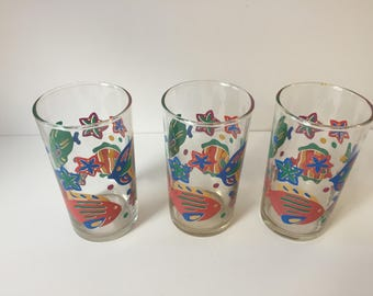 Juice Glasses with Fish. Libbey. Set of 3