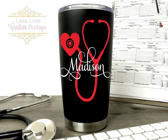 Personalized Nurse Medical Black 20 Oz Vacuum Insulated