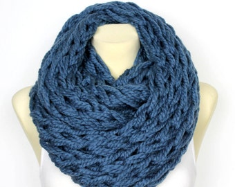 Knit Scarf Gift for Her Knit Infinity Scarf Blue Chunky Scarf Winter Infinity Autumn Womens Scarves Unique Scarves Christmas Celebrations