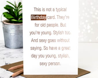 Birthday Card; This Is Not A Typical Birthday Card; Rose Gold Foil; Happy Birthday Card; GC376