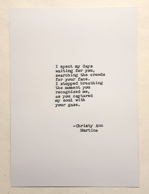 Romantic Anniversary Gift for Him or Her - Soulmates Poem Typed by Writer with Vintage Typewriter