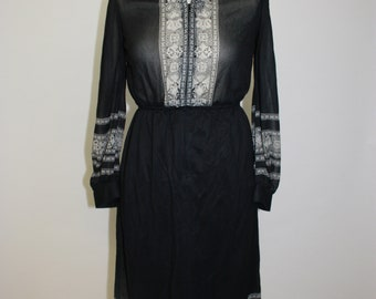 70's Moroccan style vintage dress in black