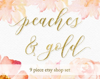 Premade etsy shop set, shop cover banner for etsy shop branding, peaches and gold delicate design, great for jewelry maker, handmade crafter