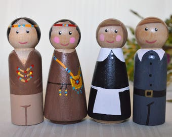 Thanksgiving peg doll set