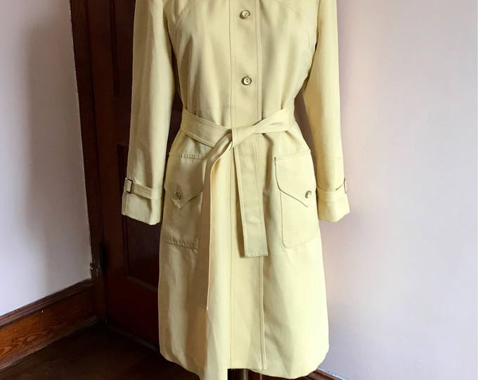 Featured listing image: 60s Yellow Coat, Trench Coat, Belted, Spring Coat, Butter Yellow, Imagnin Co, Forecaster of Boston, 1960s, Size L, Cute Coat