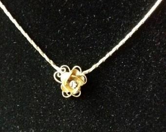 Vintage necklace 14KGF chain gold rose delicate vintage necklace vintage gold necklace vintage rose necklace gold rose necklace