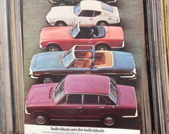 60's 70's Car Adverts | Advertising | Paper Ephemera | Hillman Super Minx | Girling | Austin A40 | Gifts for Him | Man Cave Decor