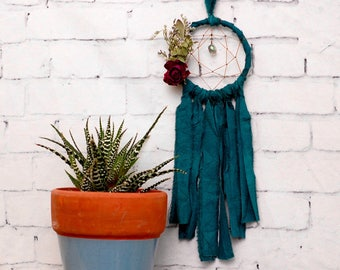 Deep Teal Mini Dream Catcher- Rearview Mirror Dream Catcher