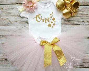 Twinkle Twinkle Little Star Birthday Outfit | Pink and Gold Birthday Outfit | First Birthday Outfit | Cake Smash Outfit | Photo Prop
