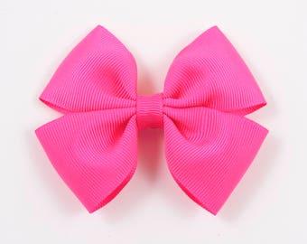 Neon Pink Hair Bow, Neon Pink Bow, Neon Pink Basic Hair Bow, Basic Hair Bow, Neon Pink Double Tuxedo Bow, Neon Pink Hair Bow (Item #10376)