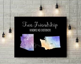 Friendship Gift | Best Friend Long Distance Print | Going Away Gift | Distance Quote | Chalkboard Long Distance Map Canvas - 49277