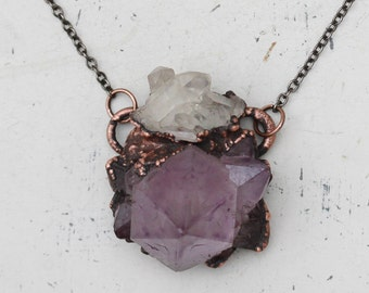 Purple Electroformed Amethyst Cactus/Spirit Quartz Crystal Necklace Quartz Cluster Boho Gypsy Earthy Necklace/Pendant In Oxidized Copper
