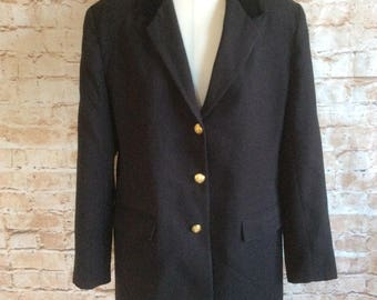 Vintage Jacket Black With Velvet Collar Equestrian Hacking Riding Country Classic C & A c 1980s Size 12 - 14 UK