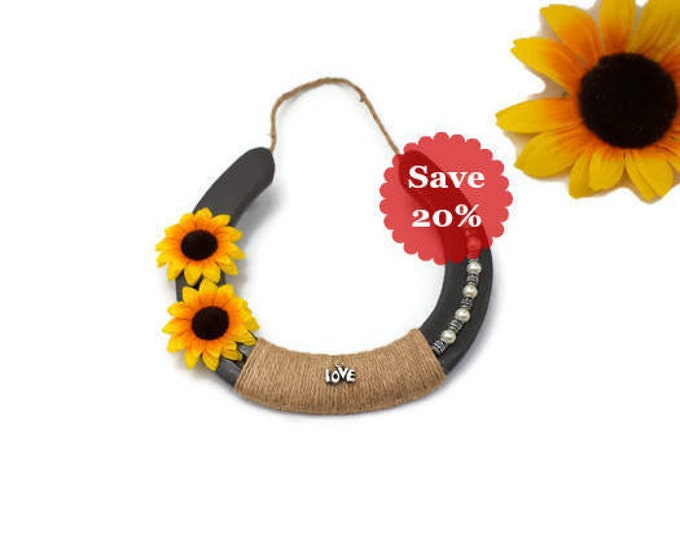 Featured listing image: Decorated Horseshoe With Sunflowers For Your Farmhouse Home Decor