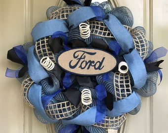 FORD wreath, Ford burlap Wreath, Man wreath, Ford Mesh wreath, ford gift, man gift, man housewarming
